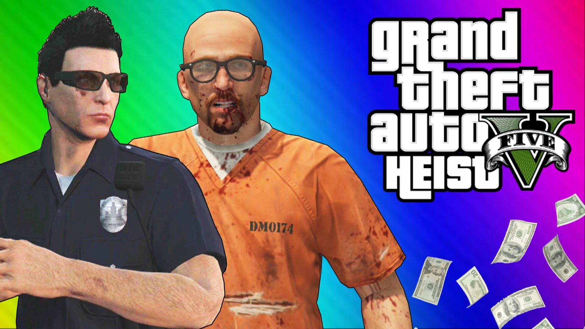 Gta 5 Heists 1 Undercover Cops Prison Break Gta 5 Online Funny Moments Part 2 Inthefame
